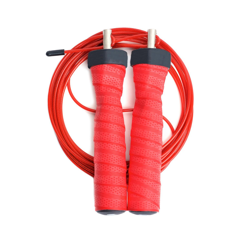 Швидкісна скакалка червона для фітнесу, боксу і кроссфіта