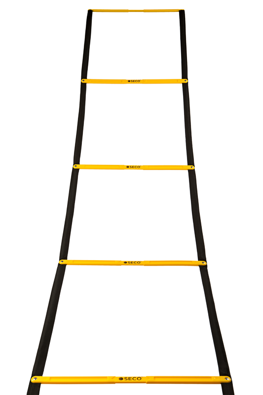 Тренировочная лестница координационная для бега складная 12 ступеней 5,1 м желтого цвета
