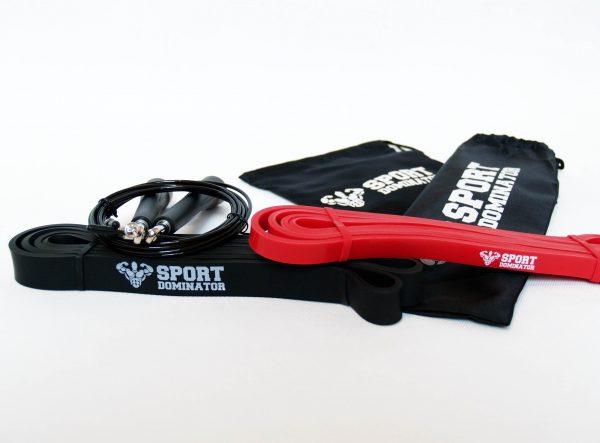 Комплект Black&Red Trio. Скакалка с двумя шнурами + Красная петля для фитнеса + Черная петля для фитнеса